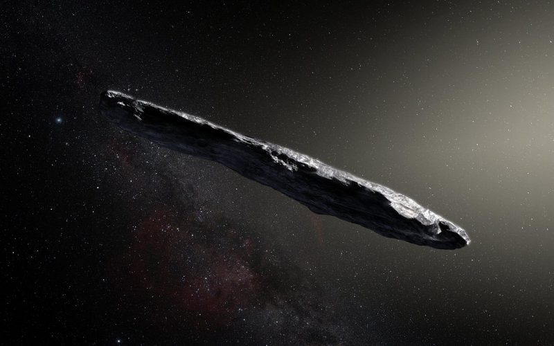 Artist depiction of the object floating through space. It's an elongated chuck of what looks like rock.