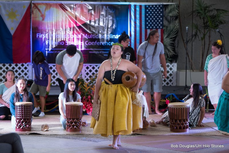 Solo Hawaiian dancer welcomes group