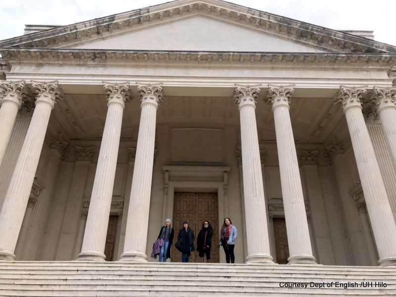 U'ilani, Tynsl, Ciarra-Lynn, Leomanaolamaikalani stand on the steps of the British School at Rome.