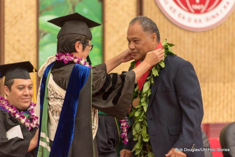 Chancellor gives Kālepa Babayan a lei.