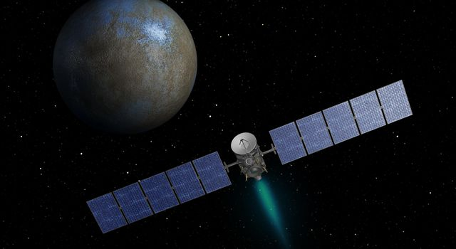 Artist rendering of the Dawn spacecraft.