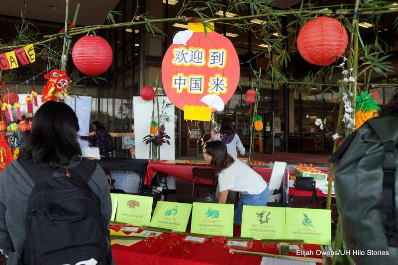 A display table about the Chinese zodiac, red chinese lanterns hanging above.