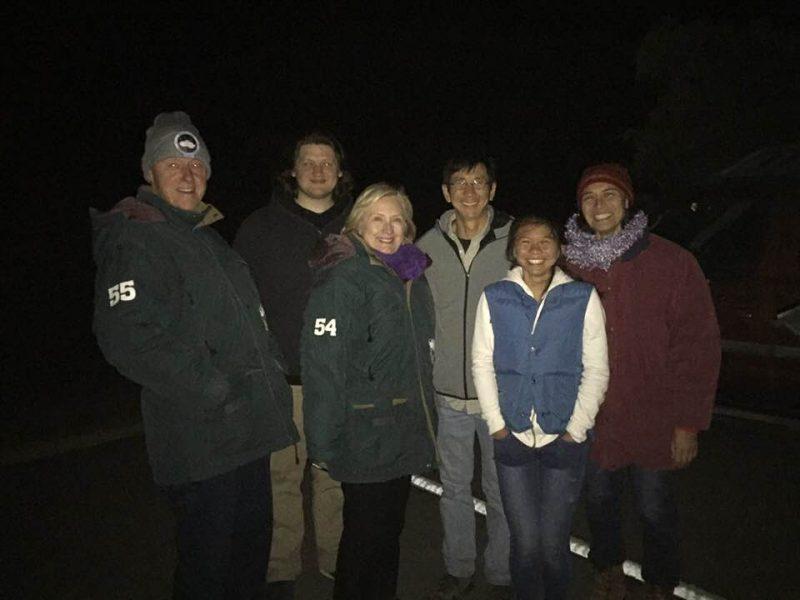 Group photo, night time dark.