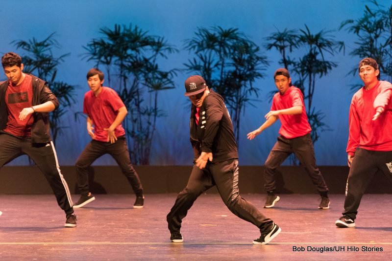 Male in black doing hip hop dance.