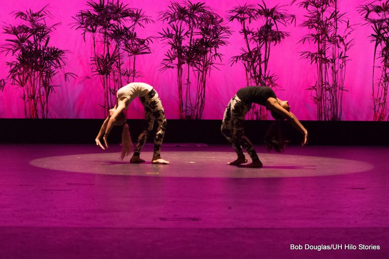 Women in modern dance attire doing back bends.