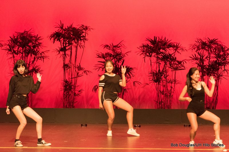 Female dancers in modern cheerleading costume doing modern dance.
