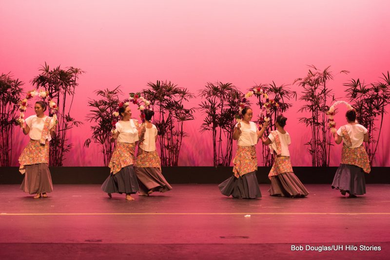 Female dancers with sweeping dresses.