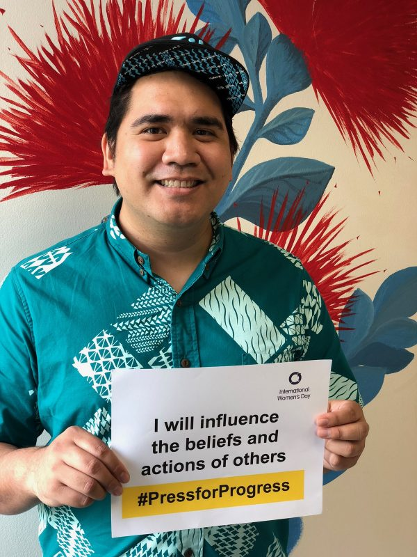 "Holding sign, "" I will influence the beliefs and actions of others"""