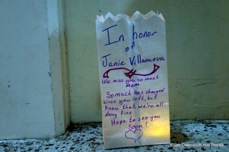 "Luminaria with words: ""In honor of Janie Villanueva"""