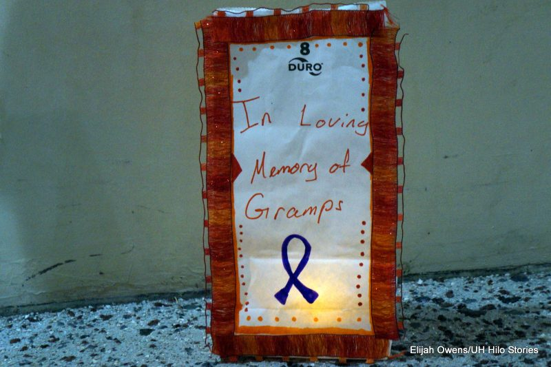 """Luminaria with words: """"In loving memory of Gramps"""""""