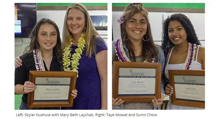 Left: Skylar Kuahuia with Mary Beth Laychak. Right: Taye Mowat and Sunni Chow