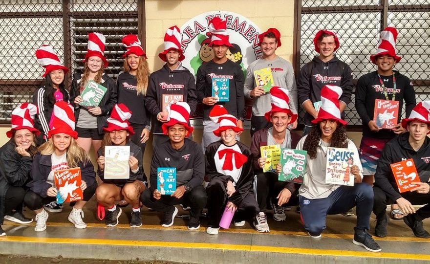 UH Hilo Vulcans read Dr. Seuss books to East Hawaiʻi schoolchildren