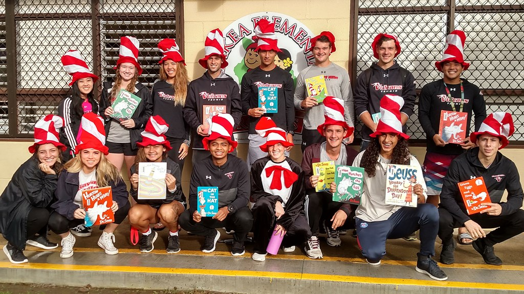 UH Hilo Vulcans read Dr. Seuss books to East Hawaiʻi schoolchildren