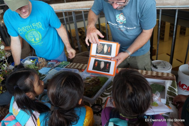 Man shows schoolchildren photos of botanicals.