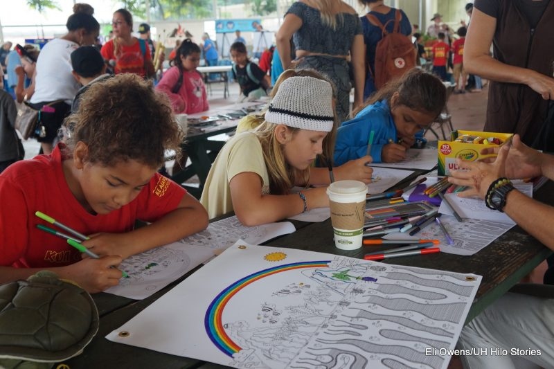 SCHOOLCHILDREN AT TABLE DOING ART WORK.