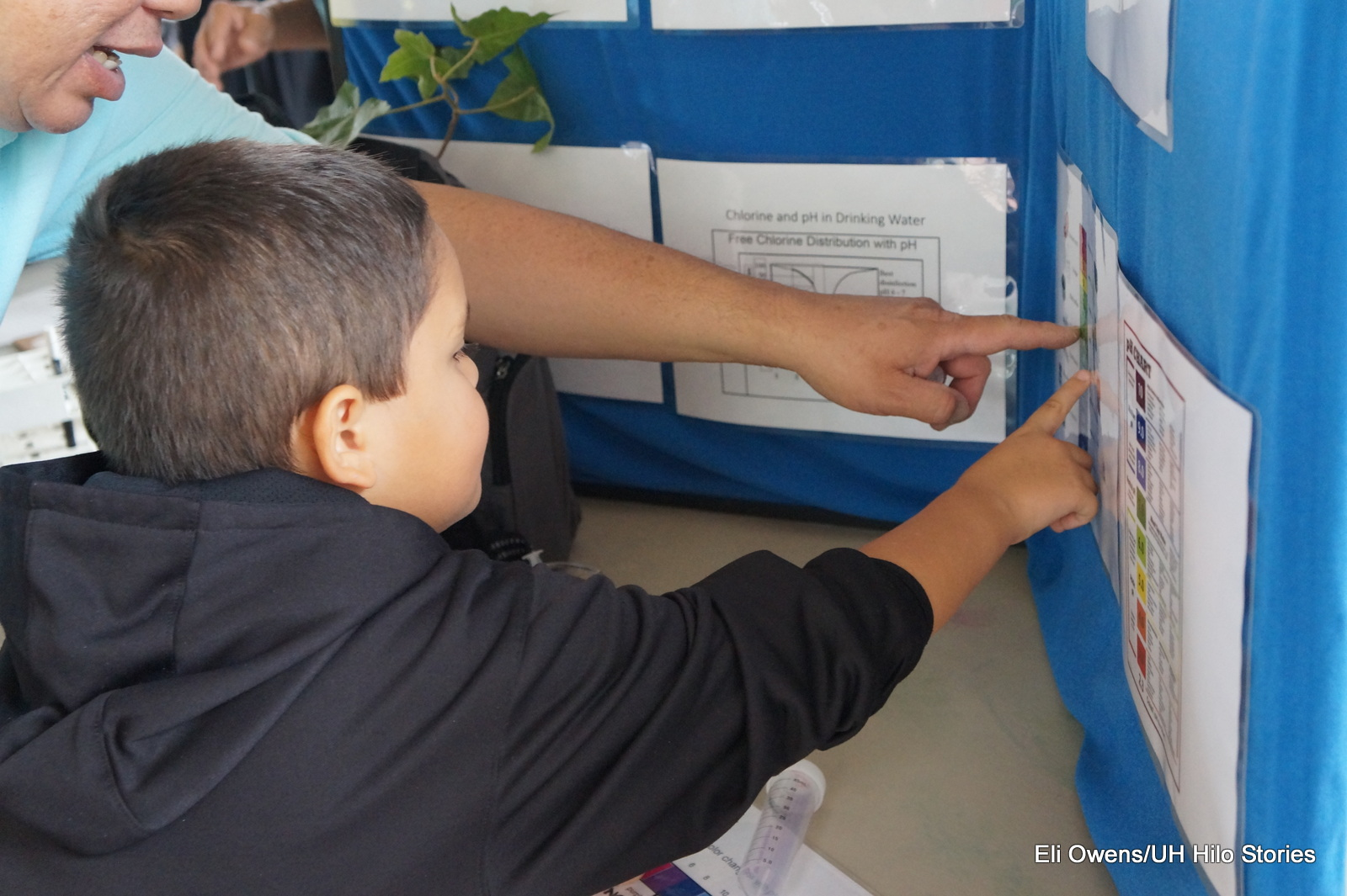 BOY POINTING TO INFORMATION ON A POSTER BOARD.