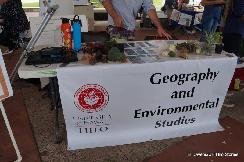 TABLE WITH SIGN: GEOGRAPHY AND ENVIRONMENTAL STUDIES.