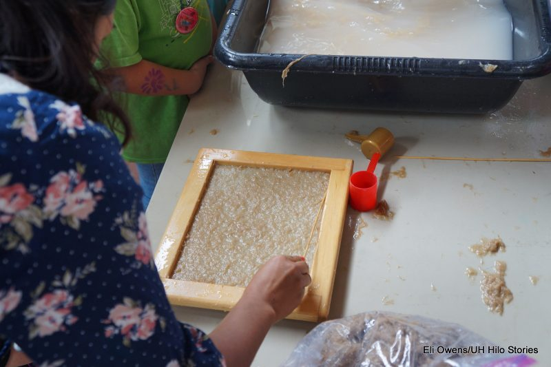 CHILD DOING PAPERMAKING, WORKING WITH PULP IN FRAME.