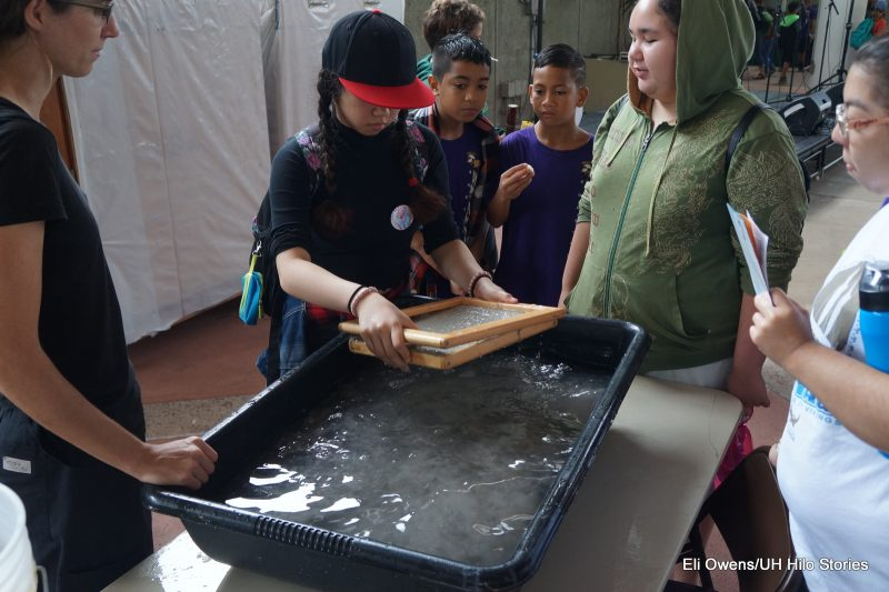 CHILD WITH RED CAP HOLDING WOODEN FRAME, MAKING PAPER, WORKING IN TUB OF WATER.