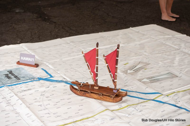 Model of canoe on a map.