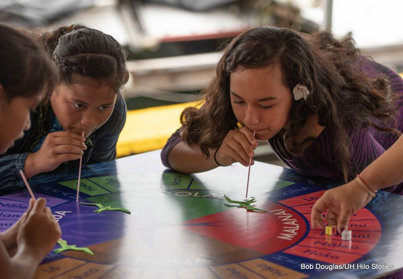 Girls blowing through straws to mimic the wind on a map.