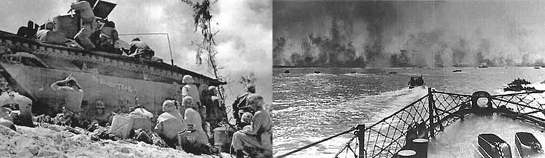 Two images. At left is beached ship with supplies being off loaded, soldiers on the beach. At right image is taken from the bow if a ship, the land across the water is burning.