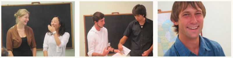 Three photos of students in TESOL class.