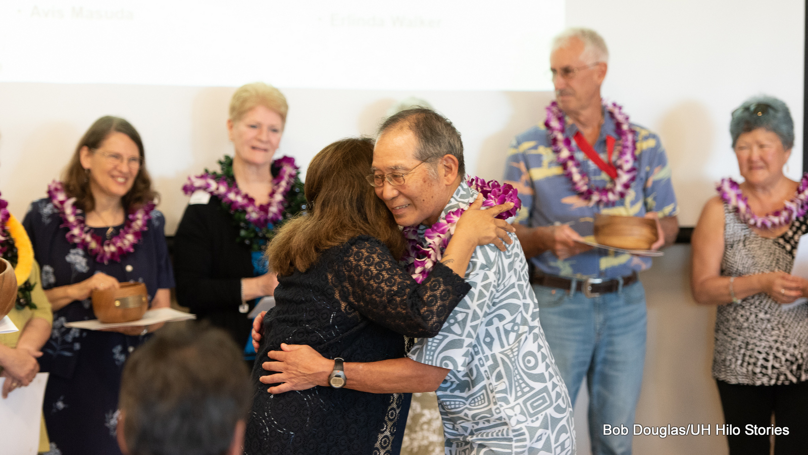 Mike Tanabe receives lei