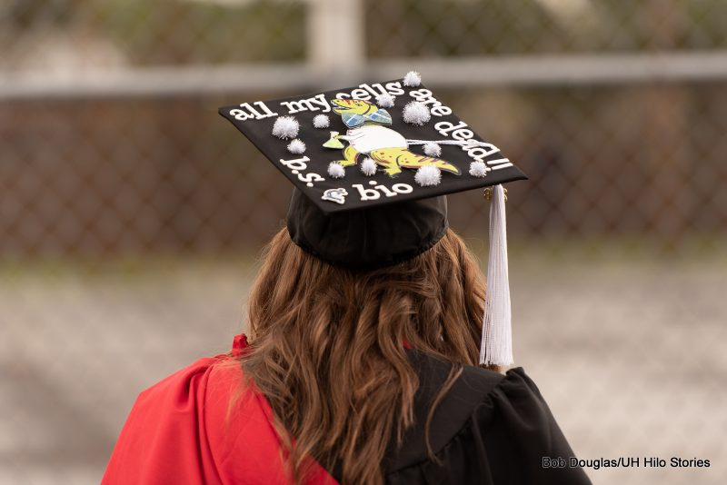 Mortarboard with the words: aLL MY CELLS ARE DEAD
