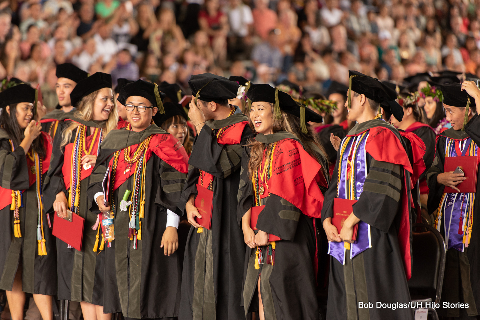 Large group of pharmacy students with hoods.
