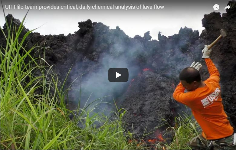 UH Hilo researchers providing critical, daily chemical analysis of Kīlauea lava flow
