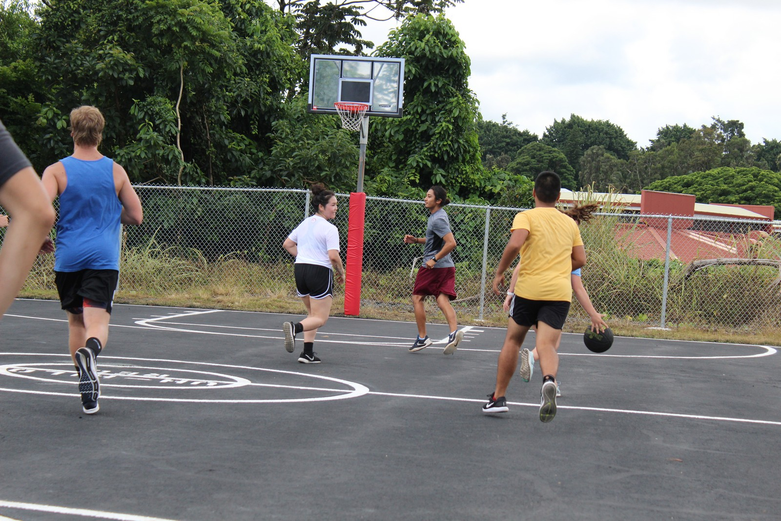 Group playing hoops.