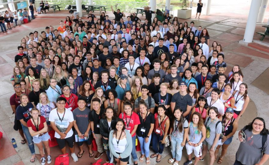 Large group of students at the campus center plaza, group shot of the freshman class.