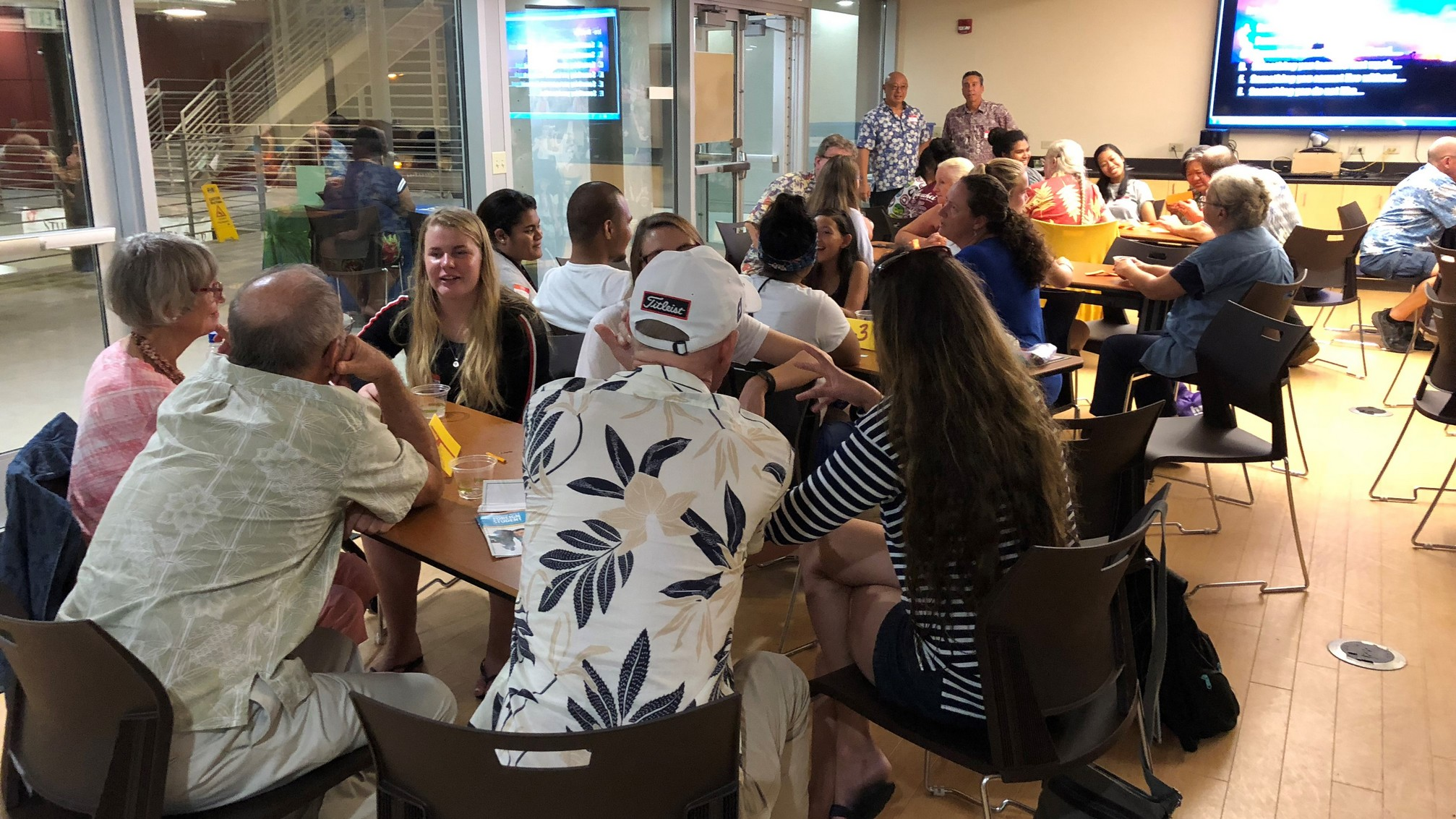 Guests at tables.