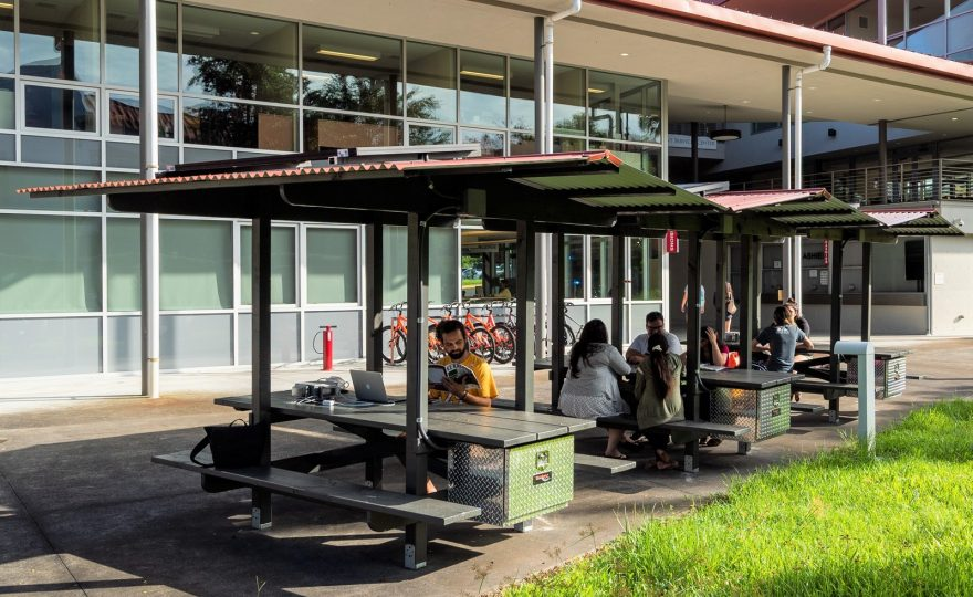 New outdoor gathering places at UH Hilo: Solar powered e-charging stations
