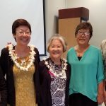 UH Hilo Interim Chancellor Marcia Sakai (in blue) stands with poets (left to right) Juliet S. Kono, Jean Yamasaki Toyama, Ann Inoshita, and Christy Passion at poetry reading held at UH Hilo