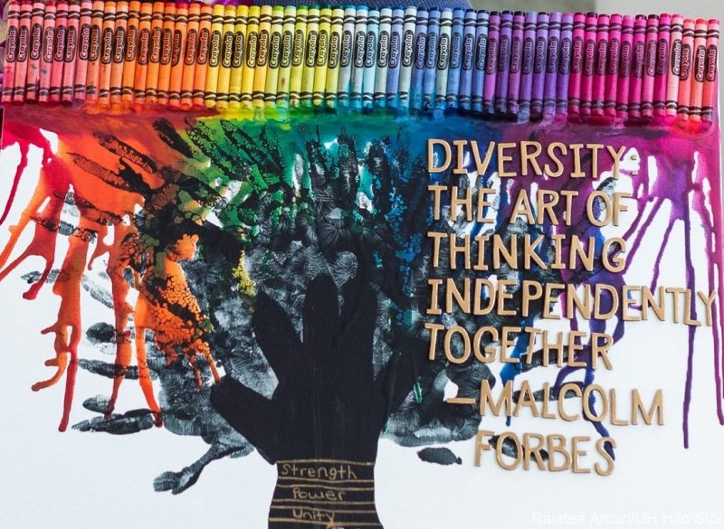 "Painting of a tree in rainbow colors, colorful wax dripping down from above onto the tree. Quotation by American entrepreneur Malcolm Forbes: ""Diversity, the art of thinking independently together."""