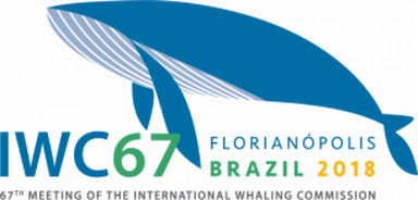 IWC67 logo: Florianopolis Brazil 2018, 67th meeting of the international Whaling Commission. Graphic of a blue whale,