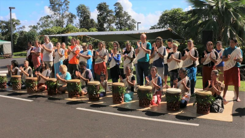 Drummers and dancers at Kipaepae. In front of group is row of drummers.