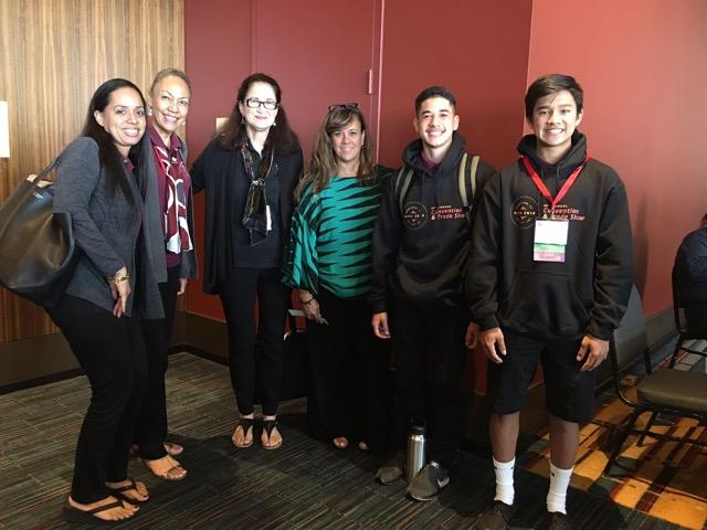 Group photo: Lalani ʻelua H-ʻĀ,, Kauanoe Kamanā, Nāmaka Rawlins, Amy Kalili, ʻAipono Valente, and Kaʻinapu Sato.
