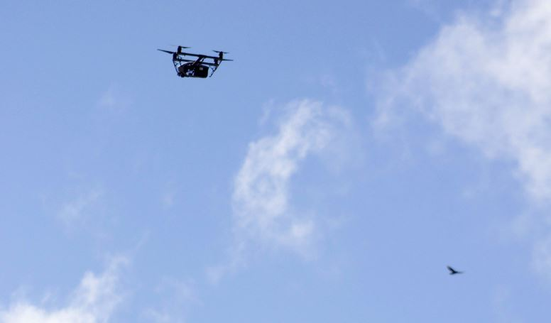 A drone in the sky.