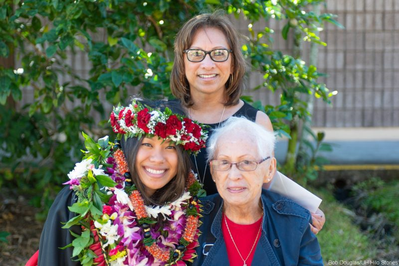 Three generations of women: Graduate, mother and grandmother.