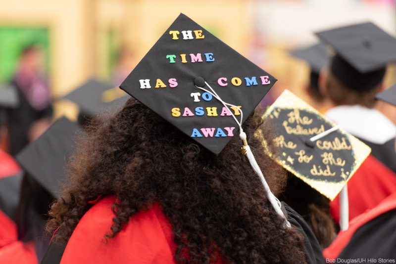 Saying on mortarboard: THE TIME HAS COME TO SASHAY AWAY