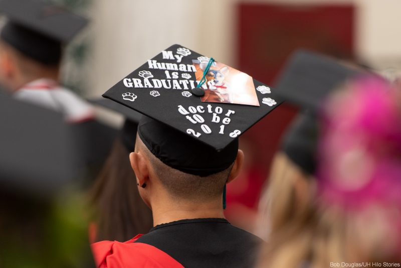 On mortarboard with photo of little dog: MU HUMAN IS GRADUATING, DOCTOR TO BE 2018: