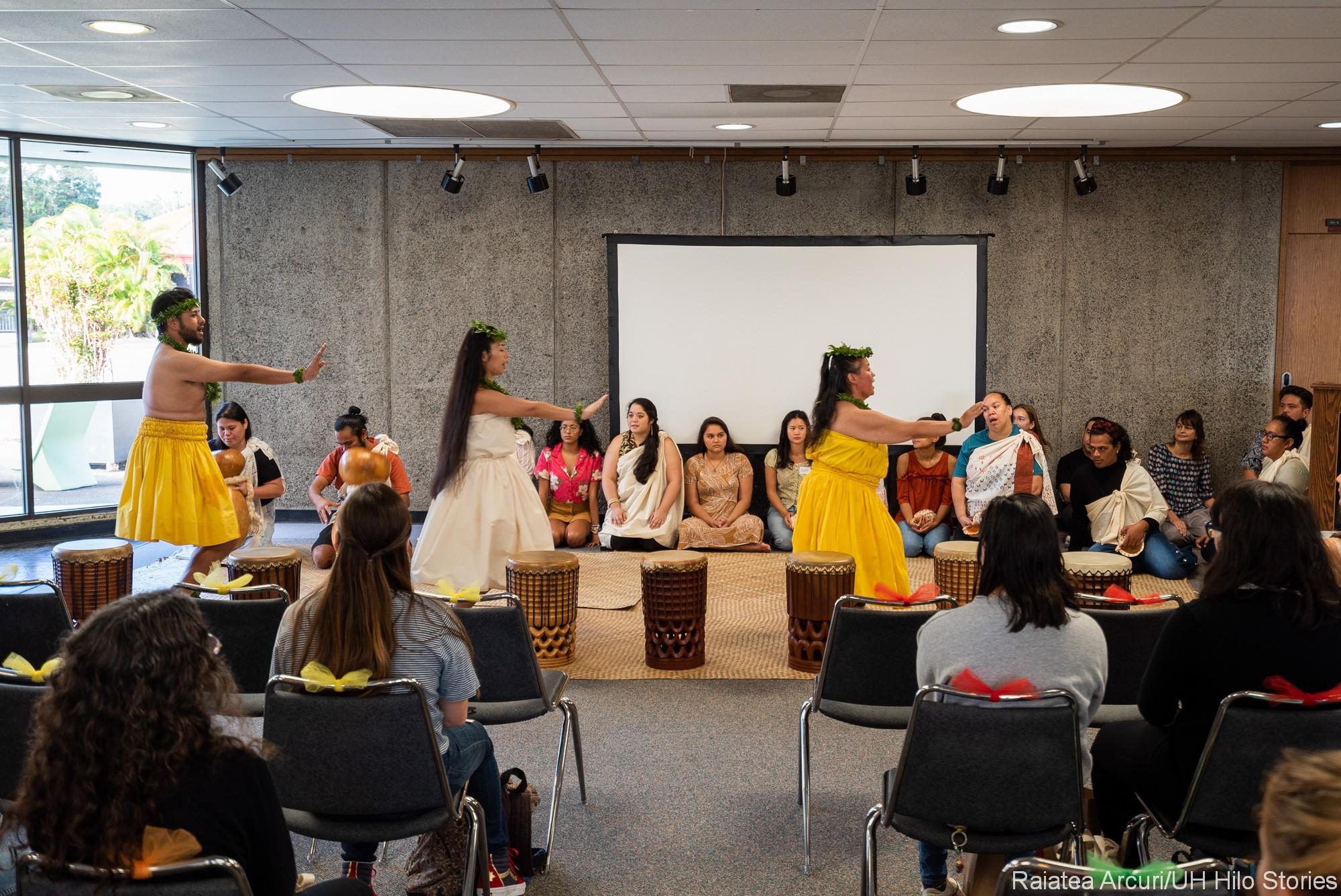 Opening Hawaiian ceremonies, dancers, drums