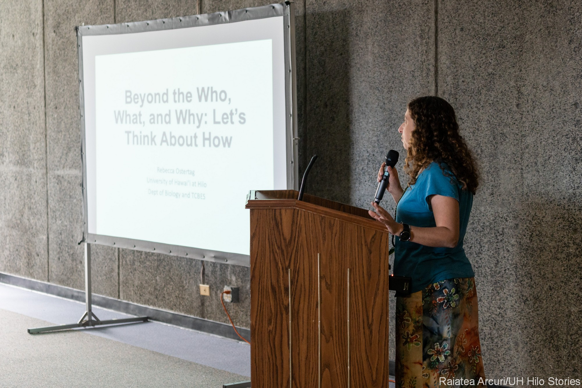 """Becky Ostertag gives remarks., on screen topic:""""Beyond the Who, What, Why: Let's Think About How"""""""