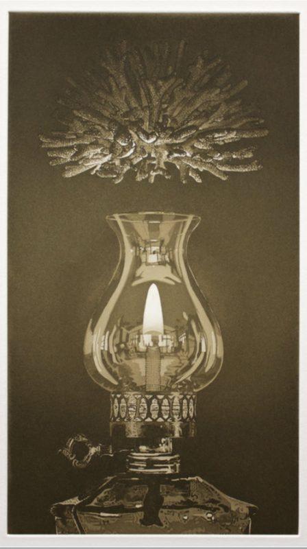 Print of hurricane lamp in sepia colors.