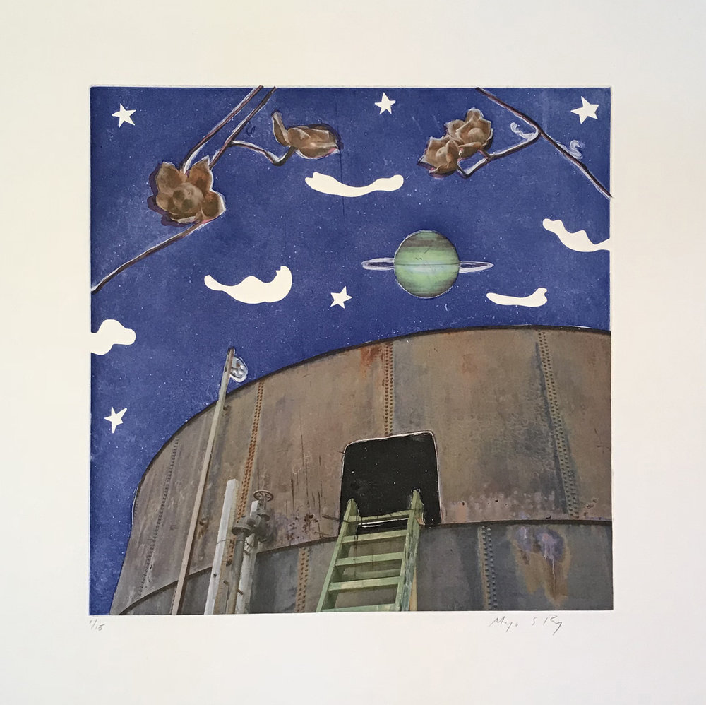Water tank at night. Clouds and planet floating above.