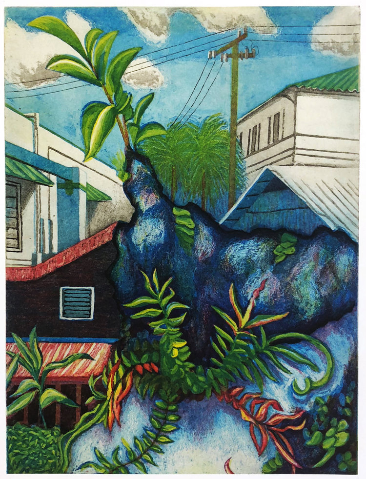 Exotic plants erupting out of the ground within a town setting.
