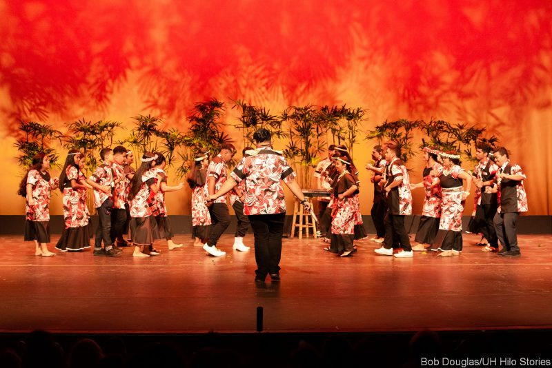 Large group of Marshallese dancers on stage.